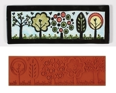 Mayco Stempelmatte ST 337 Funky Trees  Stamp 17 x 5,5 cm